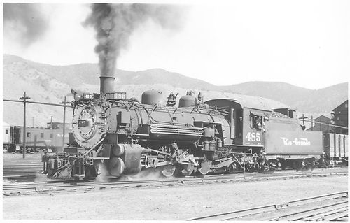 3/4 fireman side view of K-36 #485 at Salida.<br /> D&amp;RGW  Salida, CO  Taken by Pfeiffer, Jack - 9/19/1952