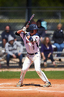 FDU-Florham Devils third baseman Josh DellaPietro (9) at bat during the first game of a doubleheader against the Farmingdale State Rams on March 15, 2017 at Lake Myrtle Park in Auburndale, Florida.  Farmingdale defeated FDU-Florham 6-3.  (Mike Janes/Four Seam Images)