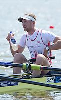 Brandenburg. GERMANY. GBR M4-. Bow, Alex GREGORY. . <br /> 2016 European Rowing Championships at the Regattastrecke Beetzsee<br /> <br /> Friday  06/05/2016<br /> <br /> [Mandatory Credit; Peter SPURRIER/Intersport-images]