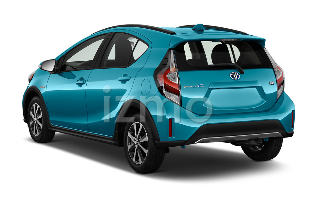 Car pictures of rear three quarter view of a 2018 Toyota Prius c One 5 Door Hatchback angular rear