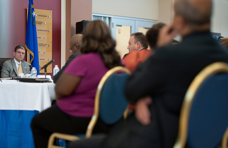 UNITED STATES - AUGUST 30: Rep. Joe Heck, R-Nev., listens to witnesses testify during the  House Education and Workforce Committee field hearing on Local Ideas to Reform Federal Job Training Programs on Tuesday, Aug. 30, 2011. The hearing was held in Heck's Las Vegas district at Opportunity Village, a not-for-profit organization that provides people with intellectual disabilities with vocational training. (Photo By Bill Clark/Roll Call)
