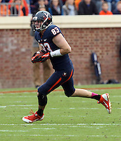 Virginia tight end Jake McGee (83) Duke defeated Virginia 35-22 at Scott Stadium in Charlottesville, VA. . Photo/Andrew Shurtleff