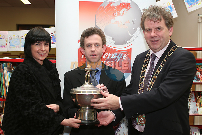 Overall Advanced Trophy winner Colin Bell with Elaine Grennan of Beverage Business Solutions and Mayor Michael O'Dowd at the Launch of the Drogheda Photographic Club's Annual Exhibition in Drogheda Library, Stockwell Street...Photo NEWSFILE/Jenny Matthews.(Photo credit should read Jenny Matthews/NEWSFILE)....This Picture has been sent you under the condtions enclosed by:.Newsfile Ltd..The Studio,.Millmount Abbey,.Drogheda,.Co Meath..Ireland..Tel: +353(0)41-9871240.Fax: +353(0)41-9871260.GSM: +353(0)86-2500958.email: pictures@newsfile.ie.www.newsfile.ie.FTP: 193.120.102.198.