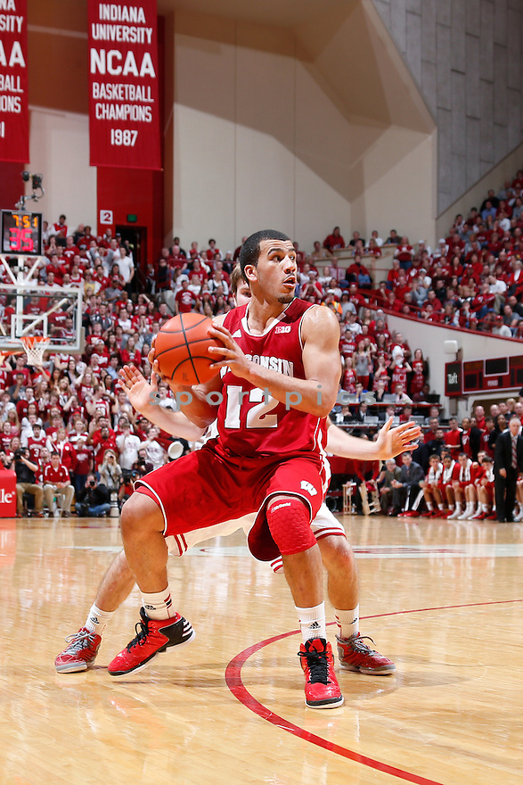 BLOOMINGTON, IN - JAUNARY 15: Traevon Jackson #12 of the Wisconsin Badgers handles the ball against the Indiana Hoosiers during the game at Assembly Hall on January 15, 2013 in Bloomington, Indiana. Wisconsin defeated Indiana 64-59. Traevon Jackson