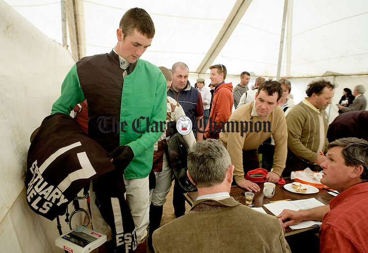Jockey J O'Meara weighs in at the Dromoland Point to point.Pic Arthur Ellis.