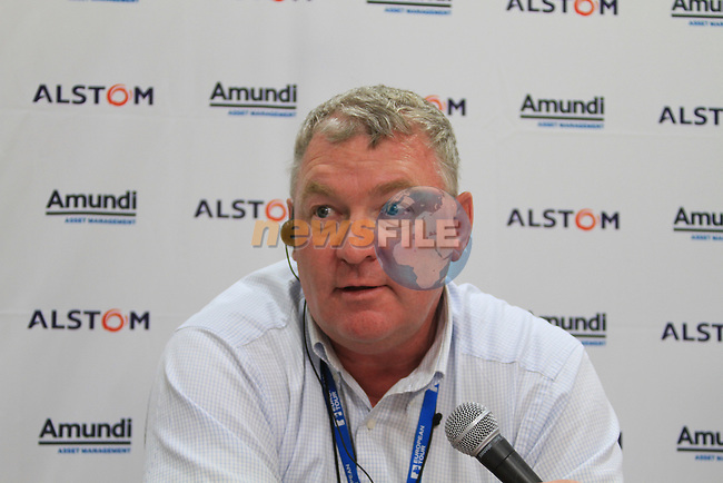 Left Andy McFee, European Tour Senior Referee with his R&A rules book to hand as he speaks to journalists after four players were disqualified after droping in the wrong area on the 18th on day one of the Alstom Open de France, Golf National Saint-Quentin-en-Yvelines, Paris. 30/6/11.Picture Fran Caffrey/www.golffile.ie