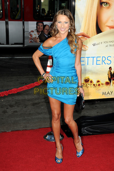 "EDYTA SLIWINSKA.Attending ""Letters To Juliet"" Los Angeles Premiere held at Grauman's Chinese Theatre, Hollywood, California , USA, .11th May 2010..arrivals full length blue off the shoulder dress hand on hip ruched peep toe satin shoes .CAP/ADM/BP.©Byron Purvis/AdMedia/Capital Pictures."