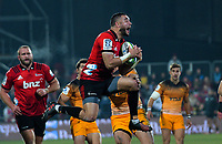 Crusaders' Bryn Hall takes a high ball during the 2019 Super Rugby final between the Crusaders and Jaguares at Orangetheory Stadium in Christchurch, New Zealand on Saturday, 6 July 2019. Photo: Dave Lintott / lintottphoto.co.nz