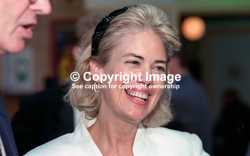Biddy Cash, wife of Conservative Party MP Bill Cash, Britain, UK. Taken at 1995 Conservative Conference in Blackpool. Ref: 199510186.<br />