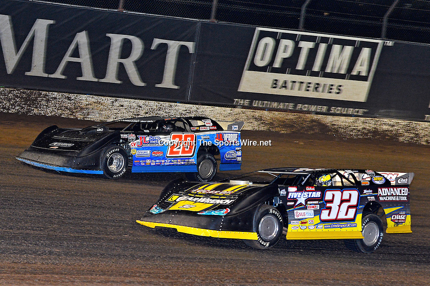 May 25, 2013; 10:51:37 PM; Wheatland, Mo., USA; The  Lucas Oil Late Model Dirt Series running the 21st Annual Lucas Oil Show-Me 100 Presented by ProtectTheHarvest.com.  Mandatory Credit: (thesportswire.net)