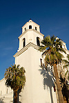 St. Augustine Cathedral bell tower and palm trees, Tucson, Arizona