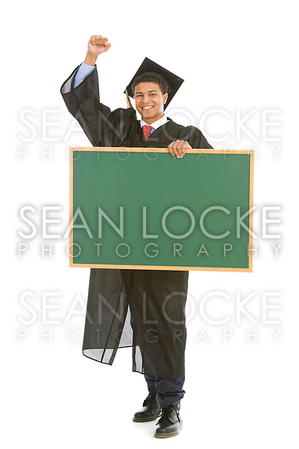 Isolated on white series of a multi-ethnic group of teenagers/young adults, in graduation cap and gown, in various poses with props.