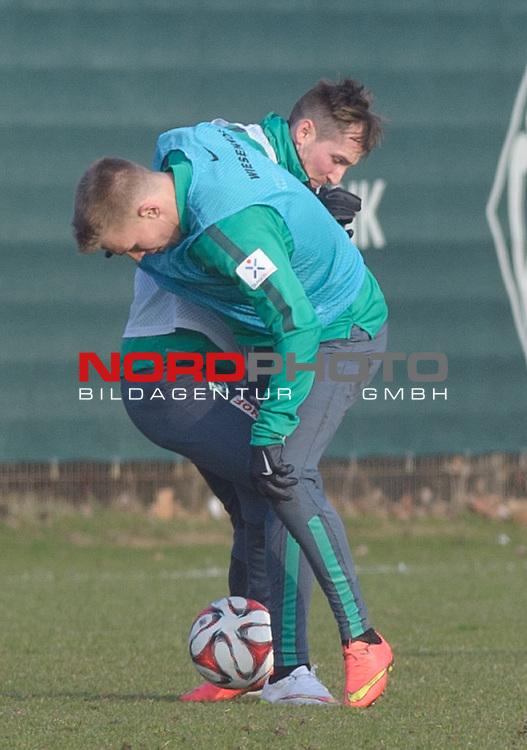 19.02.2015, Trainingsgelaende, Bremen, GER, 1.FBL, Training Werder Bremen, im Bild Janek Sternberg (Bremen #37), Izet Hajrovic (Bremen #14)<br /> <br /> Foto &copy; nordphoto / Frisch
