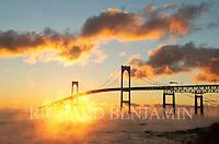 Winter Sunrise under the Newport Bridge as seen from Jamestown