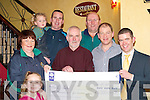 LOTTO WINNER: Legion GAA club members presenting a cheque for EUR11,500 to their Lotto winner Noel Parker, Hazelwood Drive, Killarney in Murphy's Bar on Thursday. Front l-r: Rebecca Walsh, Nora Kissane, Noel Parker, Sean Murphy and Paul Trant. Back l-r: Amy Walsh, Ned Walsh and Paudie Lynch   Copyright Kerry's Eye 2008