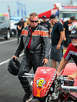 Sep 1, 2018; Clermont, IN, USA; NHRA top fuel nitro Harley Davidson motorcycle rider XXXX during qualifying for the US Nationals at Lucas Oil Raceway. Mandatory Credit: Mark J. Rebilas-USA TODAY Sports