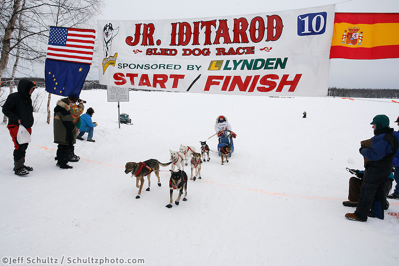 Sunday February 28, 2010   Meredith Mapes crosses the finish line of the 2010 Jr. Iditarod in 6th place .  Willow AK