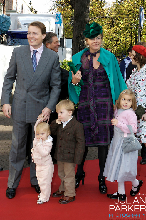 Prince Constantijn and Princess Laurentien of The Netherlands with their children Leonore, Claus Casimir and Eloise attend The Christening of Princess Ariane of The Netherlands, The youngest daughter of Crown Prince Willem Alexander and Crown Princess Maxima of The Netherlands at The Kloosterkerk in The Hauge, Holland.