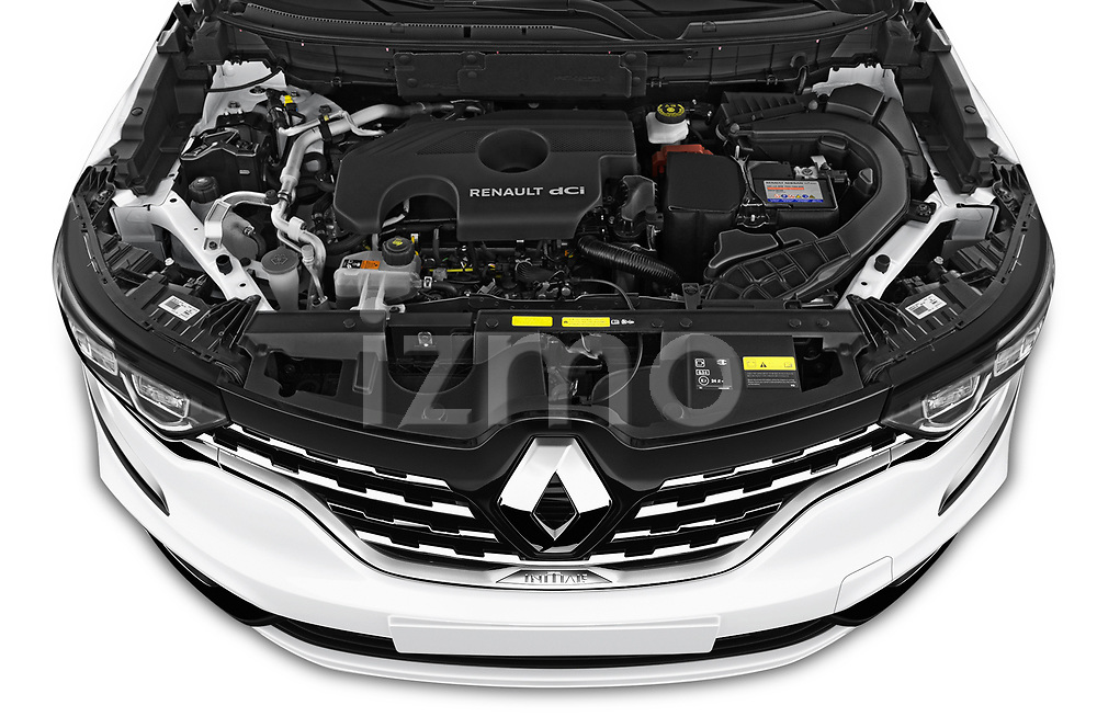 Car stock 2020 Renault Koleos Initiale Paris 5 Door SUV engine high angle detail view