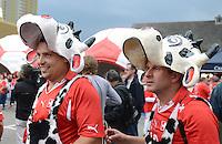 Fussball International  WM Qualifikation 2014   11.09.2012 Schweiz - Albanien Schweizer Fans als Kuehe verkleidet