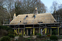 BNPS.co.uk (01202 558833)<br /> Pic: ZacharyCulpin/BNPS<br /> <br /> PICTURED: Thatchers working on the Thomas Hardy's cottage roof.<br /> <br /> Master thatcher Scott Symonds puts the finishing touches to the new straw roof at the former home of Victorian author Thomas Hardy.<br /> <br /> The National Trust, which owns the picturesque cottage near Dorchester, Dorset, has closed the historic property for more than a month while it undergoes vital conservation work.<br /> <br /> On the inside new structural supports have been installed and the stone floor repointed after taking a battering from thousands of visitors over the years.<br /> <br /> And on the outside the roof has been re-thatched by Scott and his dad Dave who even appeared was an extra in the 2015 film adaptation of Hardy's Far From the Madding Crowd.