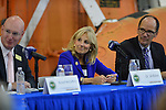 PEMBROKE PINES, FL - NOVEMBER 18: Russell McCaffery, Dr. Jill Biden, wife of U.S. Vice President Joe Biden and  Secretary of Labor Thomas Perez visits Broward College Aviation Institute and addresses a group of educators to discuss the recent selection of Broward College to lead a $24.5 million grant to twelve schools in seven states focused on training workers for careers in supply chain management on November 18, 2013 in Pembroke Pines, Florida. (Photo by Johnny Louis/jlnphotography.com)