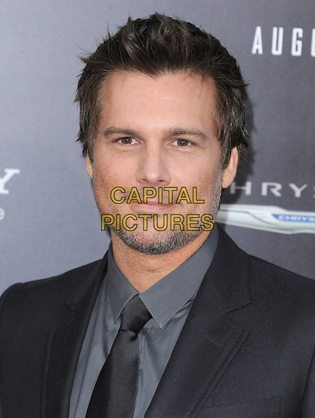 Len Wiseman.Premiere of 'Total Recall' held at The Grauman's Chinese Theatre in Hollywood, California, USA..August 1st, 2012.headshot portrait grey gray shirt suit black stubble facial hair .CAP/RKE/DVS.©DVS/RockinExposures/Capital Pictures.