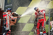 June 11th 2017, Barcelona Circuit, Montmelo, Catalunya, Spain; MotoGP Grand Prix of Catalunya, Race Day;  (L-R) Marc Marquez of the Repsol Honda Motogp Team and Andrea Dovizioso of the Ducati Motogp Team celebrate on the podium after the Motogp race