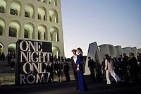 Roma, 5 Giugno, 2013. Nicoletta Romanoff con Giorgio Pasotti al 'One Night Only' Roma organizzato da Giorgio Armani al Palazzo della Civilta Italiana.