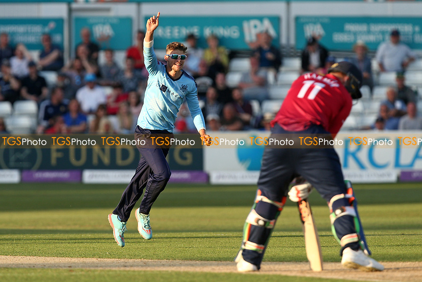 Karl Carver of Yorkshire celebrates taking the wicket of Simon Harmer during Essex Eagles vs Yorkshire Vikings, Royal London One-Day Cup Play-Off Cricket at The Cloudfm County Ground on 14th June 2018