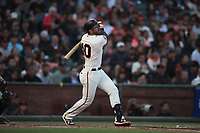 SAN FRANCISCO, CA - AUGUST 11:  Evan Longoria #10 of the San Francisco Giants bats against the Pittsburgh Pirates during the game at AT&T Park on Saturday, August 11, 2018 in San Francisco, California. (Photo by Brad Mangin)