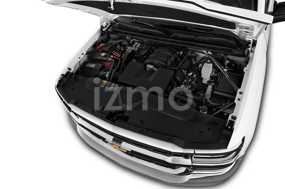 Car Stock 2016 Chevrolet Silverado 1500 LS 4 Door Pickup Engine  high angle detail view