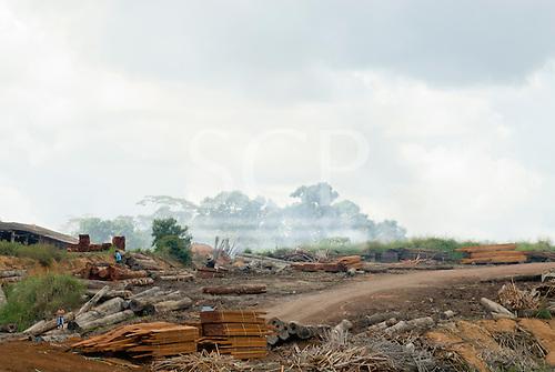 Xingu, Pará State, Brazil. Riverside sawmill.