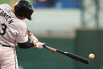 Reno Aces' Peter O'Brien breaks his bat in a game against the Albuquerque Isotopes in Reno, Nev., on Saturday, April 18, 2015. The Aces lost 9-4. <br /> Photo by Cathleen Allison