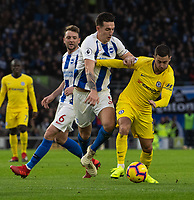 Chelsea's Eden Hazard (right) is tackled by Brighton &amp; Hove Albion's Lewis Dunk (left) <br /> <br /> Photographer David Horton/CameraSport<br /> <br /> The Premier League - Brighton and Hove Albion v Chelsea - Sunday 16th December 2018 - The Amex Stadium - Brighton<br /> <br /> World Copyright &copy; 2018 CameraSport. All rights reserved. 43 Linden Ave. Countesthorpe. Leicester. England. LE8 5PG - Tel: +44 (0) 116 277 4147 - admin@camerasport.com - www.camerasport.com
