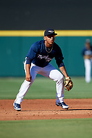 Lakeland Flying Tigers shortstop Isaac Paredes (3) during the first game of a doubleheader against the Bradenton Marauders on April 11, 2018 at Publix Field at Joker Marchant Stadium in Lakeland, Florida.  Lakeland defeated Bradenton 5-4.  (Mike Janes/Four Seam Images)
