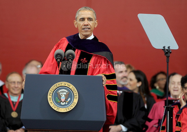 NEW BRUNSWICK, NJ - MAY 15: U.S. President Barack Obama speaks after receiving an honorary doctorate of laws during the 250th anniversary commencement ceremony at Rutgers University on May 15, 2016 in New Brunswick, New Jersey. Credit: Dennis Van Tine/MediaPunch