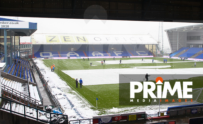 A snow packed  Boundary Park, home of Oldham Athletic FC ahead of the Sky Bet League 1 match between Oldham Athletic and Northampton Town at Boundary Park, Oldham, England on 9 December 2017. Photo by Juel Miah / PRiME Media Images.