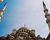 TURKEY, Istanbul, low angle view of Yeni Camii Mosque