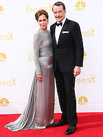 LOS ANGELES, CA, USA - AUGUST 25: Actor Bryan Cranston and Robin Dearden arrive at the 66th Annual Primetime Emmy Awards held at Nokia Theatre L.A. Live on August 25, 2014 in Los Angeles, California, United States. (Photo by Celebrity Monitor)
