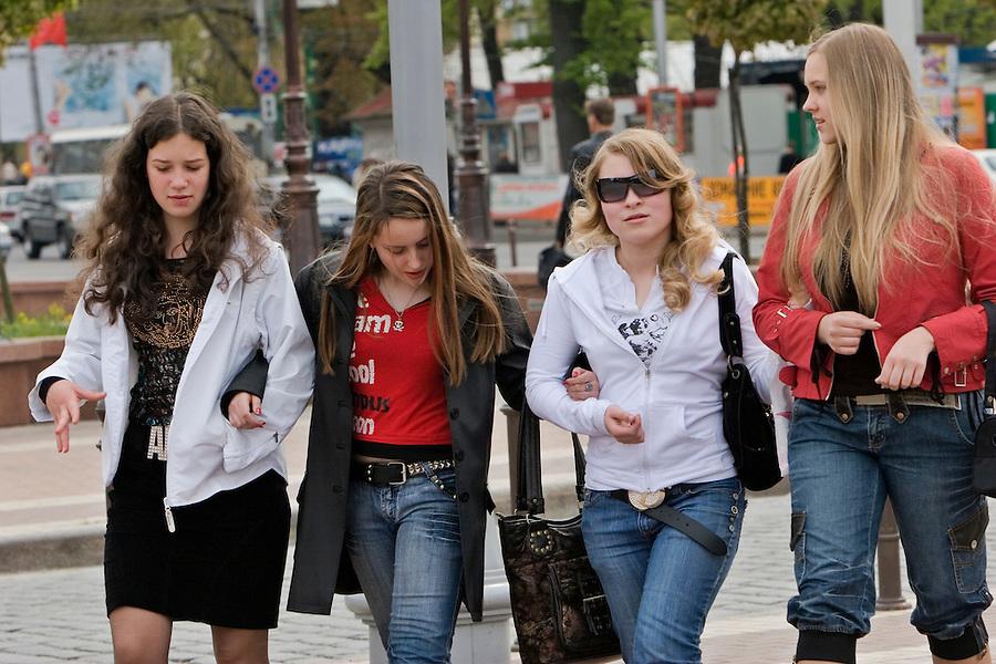 Kaliningrad, Russia, 06/05/2007..Young women walking in Kaliningrad city centre.