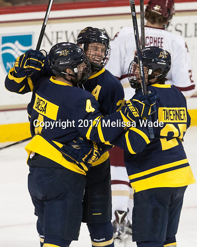 Marc Biega (Merrimack - 4), Hampus Gustafsson (Merrimack - 20), Sami Tavernier (Merrimack - 25) - The visiting Merrimack College Warriors defeated the Boston College Eagles 6 - 3 (EN) on Friday, February 10, 2017, at Kelley Rink in Conte Forum in Chestnut Hill, Massachusetts.
