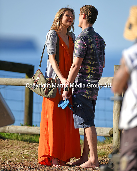 11 AUGUST 2015 SYDNEY AUSTRALIA<br /> <br /> NON EXCLUSIVE<br /> <br /> Kassandra Clementi pictured with cast mate Alec Snow shooting a romantic scene for Home &amp; Away at Palm Beach.