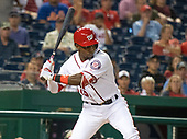 Washington Nationals center fielder Victor Robles (16) bats in the first inning against the New York Mets at Nationals Park in Washington, D.C. on Thursday, September 20, 2018.<br /> Credit: Ron Sachs / CNP<br /> <br /> (RESTRICTION: NO New York or New Jersey Newspapers or newspapers within a 75 mile radius of New York City)