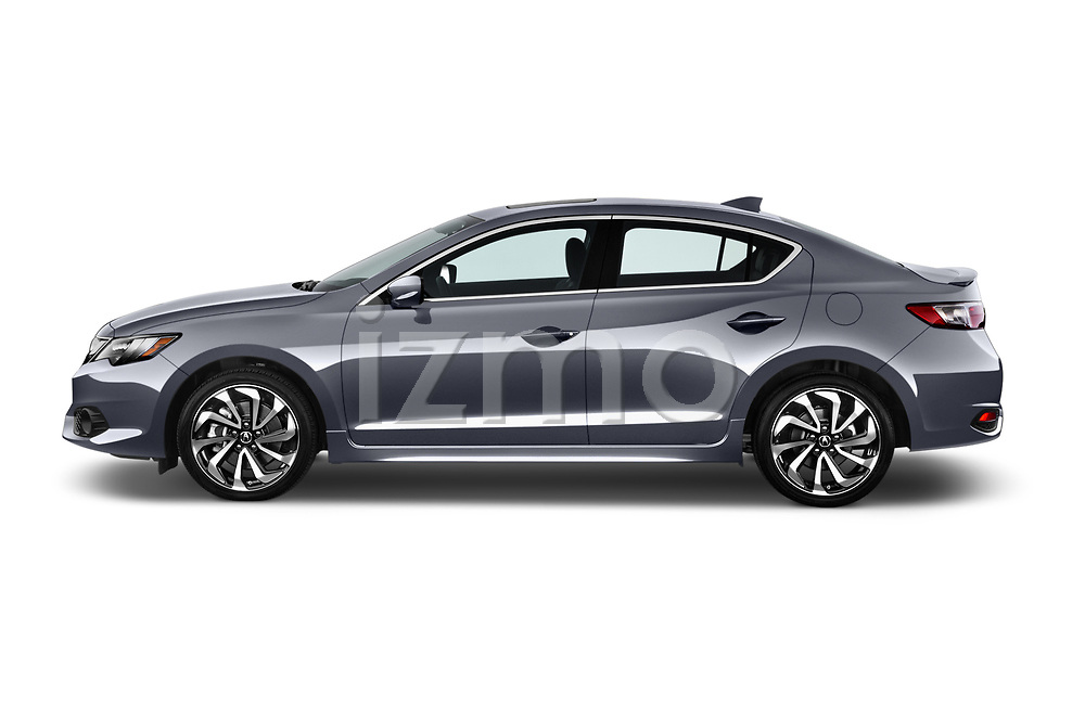 Car driver side profile view of a 2016-2017 Acura ilx Tech Plus and A Spec Package 4 Door Sedan