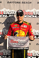 Feb 08, 2009; Daytona Beach, FL, USA; NASCAR Sprint Cup Series driver Martin Truex Jr after winning the pole position during qualifying for the Daytona 500 at Daytona International Speedway. Mandatory Credit: Mark J. Rebilas-