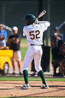 Oakland Athletics James Terrell (52) during an Instructional League game against the San Francisco Giants on October 5, 2016 at Fitch Park in Mesa, Arizona.  (Mike Janes/Four Seam Images)