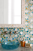 Medina, jewel glass mosaic shown in Aquamarine, Shell, and Agate, is part of the Miraflores collection by Paul Schatz for New Ravenna.