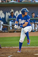 Gersel Pitre (13) of the Ogden Raptors at bat against the Idaho Falls Chukars in Pioneer League action at Lindquist Field on August 27, 2015 in Ogden, Utah.Ogden defeated the Chukars 4-3.  (Stephen Smith/Four Seam Images)