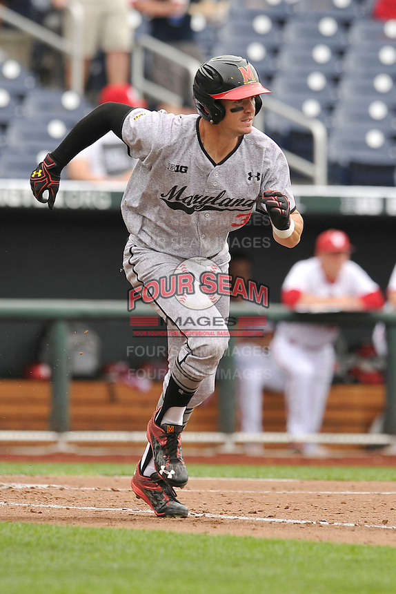 Maryland Terrapins Anthony Papio (3) runs to first base during the Big Ten Tournament game against the Indiana Hoosiers at TD Ameritrade Park on May 25, 2016 in Omaha, Nebraska.  Maryland  won 5-3.  (Dennis Hubbard/Four Seam Images)